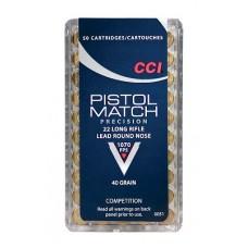 CCI 0051 Select Pistol Match 22 LR Round Nose 40 GR 50Box/100Case