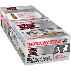 Winchester Ammo X22MH Super-X 22 Winchester Magnum Rimfire (WMR) 40 GR Jacketed Hollow Point 50 Bx/ 40 Cs
