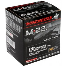Winchester Ammo S22LRT M-22 22 Long Rifle 40 GR Lead Round Nose 2000 Bx/1 Cs