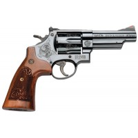 """Smith & Wesson 150783 29 Machine Engraved Single/Double 44 Remington Magnum 4"""" 6 Engraved Wood Blued"""