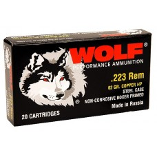 Wolf 22362HP Performance 223 Remington/5.56 NATO Bimetal Jacket 62 GR 500 Rds