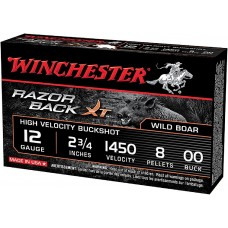 "Winchester Ammo S12RB00 Razorback XT High Velocity 12 Gauge 2.75"" 8 Pellets 00 Buck Shot 5 Bx/ 20"
