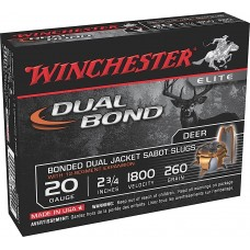 "Winchester Ammo SSDB20 Elite Dual Bond 20 Gauge 2.75"" 260 GR Sabot Slug Shot 5 Bx/ 20 Cs"