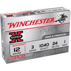 "Winchester Ammo XB1231 Super-X 12 Gauge 3"" Copper-Plated Lead 24 Pellets 1 Buck 5 Bx/ 50 Cs"