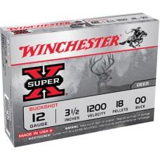 "Winchester Ammo XB12L00 Super-X 12 Gauge 3.5"" Copper-Plated Lead 18 Pellets Buck 5 Bx/ 50 Cs"