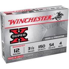 "Winchester Ammo XB12L4 Super-X 12 Gauge 3.5"" Copper-Plated Lead 54 Pellets 4 Buck 5 Bx/50 Cs"